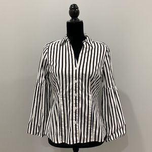 Stripped Long Sleeve Button Down Blouse